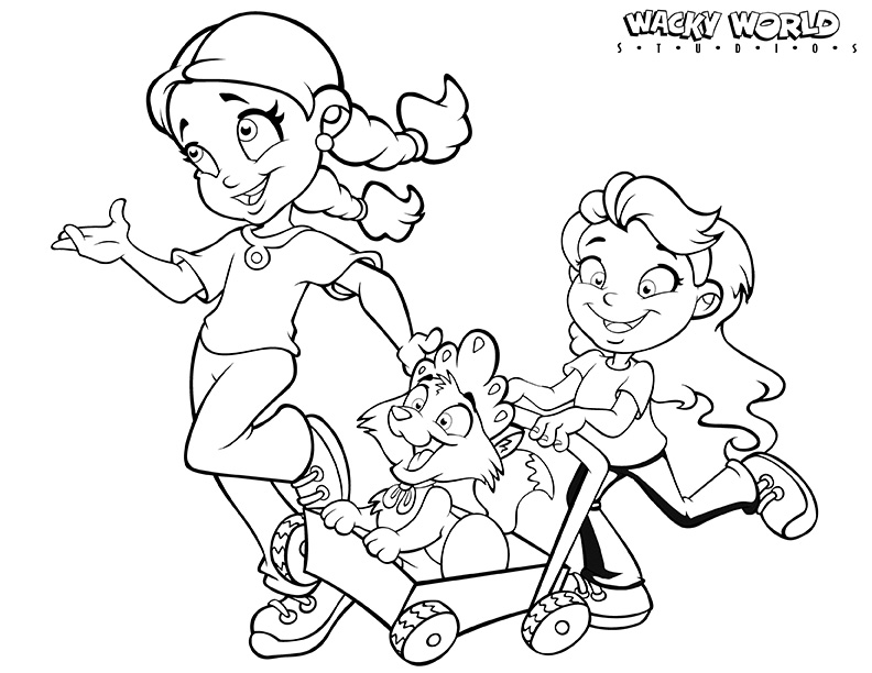 Running Girls Coloring Page