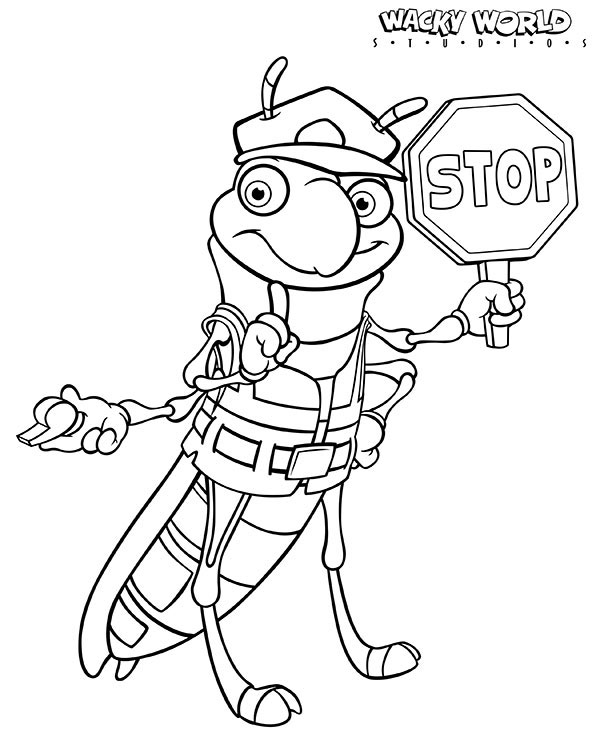 Safety Grasshopper Coloring Page