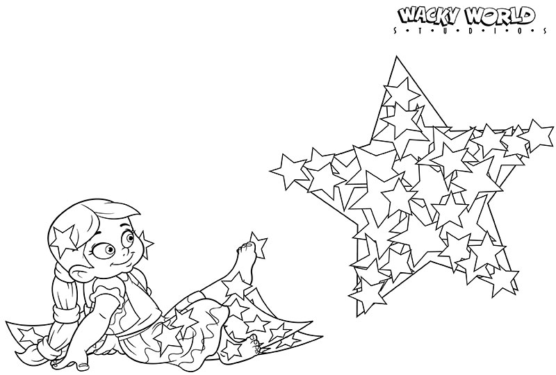 Stars Girl Coloring Page