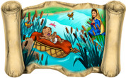 Moses in the Basket - Bible Scroll