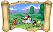 Jesus and the Children (Version 1) - Bible Scroll