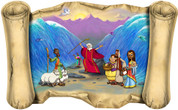 Moses Parts the Red Sea (Version 1) - Bible Scroll