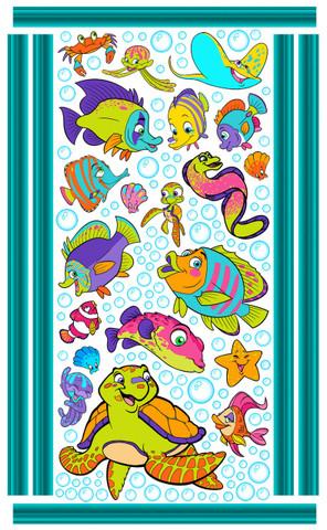 Fish Friends Wall Art by Vivi's Boutique.  Sheet size measures 6.5' x 4'.