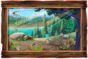 Framed Realistic Outdoor Woods Scene