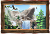 Framed Realistic Outdoor Mountain Scene
