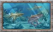 Framed Undersea Realistic Shark Scene