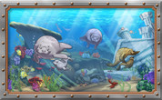 Framed Undersea Cartoon Manatees