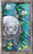 Framed Undersea Cartoon Manatee (Vertical)