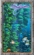 Framed Undersea Cartoon Fish and Stingray (Vertical)