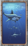 Framed Undersea Realistic Sharks 1 (Vertical)
