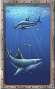 Framed Undersea Realistic Sharks 2 (Vertical)