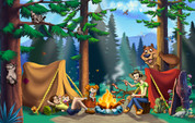 Backdrop: Great Outdoors, Family by Campfire