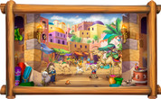 Framed Around the World Scene: Biblical Market (Choice of Frame)
