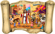 Jesus with Children in Market - Bible Scroll