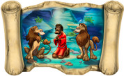 Daniel in the Lion's Den (Version 2) - Bible Scroll
