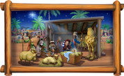 Framed Biblical Scene: Nativity (With or Without Angels)