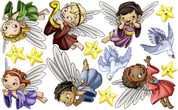 Biblical Set: Angels (in Colored or White Robes) Peel-n-Stick Pack