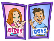 Boys and Girls Restroom Door Signs Peel-n-Stick Pack #2