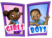 Boys and Girls Restroom Door Signs Peel-n-Stick Pack #3