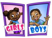 Boys and Girls Restroom Door Signs Peel-n-Stick Pack #3