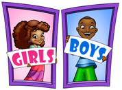 Boys and Girls Restroom Door Signs Peel-n-Stick Pack #4