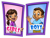 Boys and Girls Restroom Door Signs Peel-n-Stick Pack #5