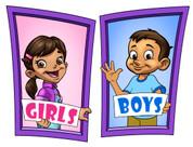 Boys and Girls Restroom Door Signs Peel-n-Stick Pack #5