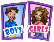 Boys and Girls Restroom Door Signs Peel-n-Stick Pack #6