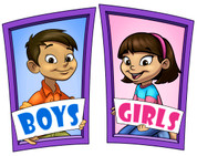 Boys and Girls Restroom Door Signs Peel-n-Stick Pack #7