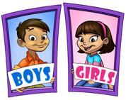 Boys and Girls Restroom Door Signs Peel-n-Stick Pack #7