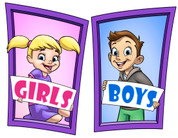 Boys and Girls Restroom Door Signs Peel-n-Stick Pack #9
