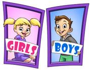 Boys and Girls Restroom Door Signs Peel-n-Stick Pack #9