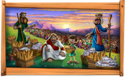 Framed Biblical Scene: Jesus Feeds 5000 (Choice of Frame)