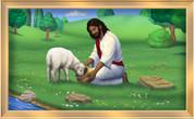 Framed Jesus Feeding a Lamb