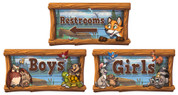 Camping Themed Restroom Door Signs Peel-n-Stick Pack #1