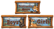 Camping Themed Restroom Door Signs Peel-n-Stick Pack #2