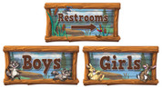 Camping Themed Restroom Door Signs Peel-n-Stick Pack #3