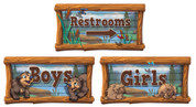 Camping Themed Restroom Door Signs Peel-n-Stick Pack #4