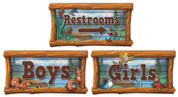 Camping Themed Restroom Door Signs Peel-n-Stick Pack #5