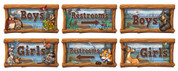 Camping Themed Restroom Door Signs Peel-n-Stick Pack #6 (Combination of Packs #1 and #2)
