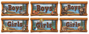 Camping Themed Restroom Door Signs Peel-n-Stick Pack #7 (Combo of Packs #3, #4 and #5)