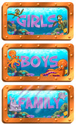 Undersea Themed Restroom Door Signs Peel-n-Stick Pack #3