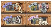 Noah's Ark Themed Restroom Door Signs Peel-n-Stick Pack #1