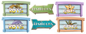 Boardwalk Themed Restroom Door Signs Peel-n-Stick Pack #1
