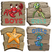 Boardwalk Themed Restroom Door Signs Peel-n-Stick Pack #2