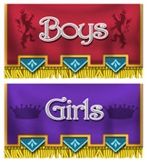 Castle Themed Restroom Door Signs Peel-n-Stick Pack #2