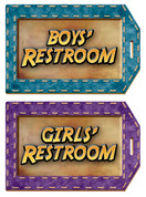 Travel Themed Restroom Door Signs Peel-n-Stick Pack