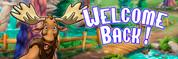 Welcome Back Vinyl Banner - Camping, Moose