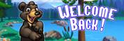Welcome Back Vinyl Banner - Camping, Bear