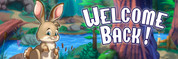 Welcome Back Vinyl Banner - Camping, Bunny